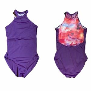 Dance Costume Purple Flower Back Leotard M